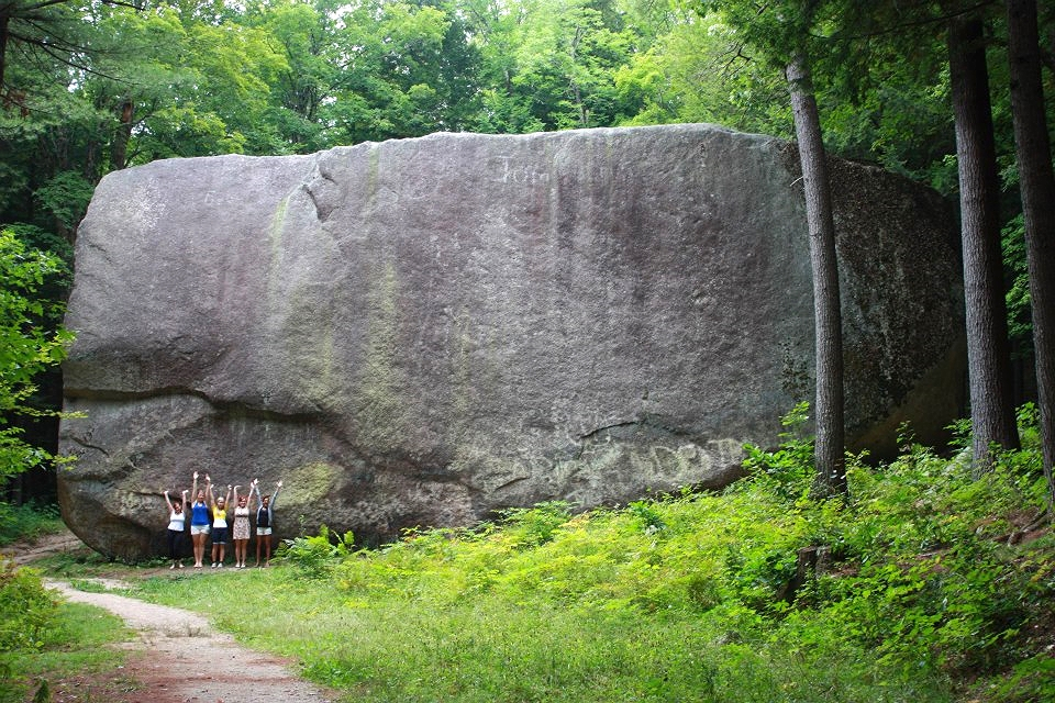 Standing in front of the Madison Boulder.