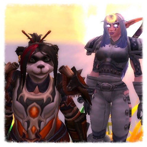 LEFT: Lynaria, Pandaren Rogue (Mike) RIGHT: Andreah, Night Elf Druid (Eden)