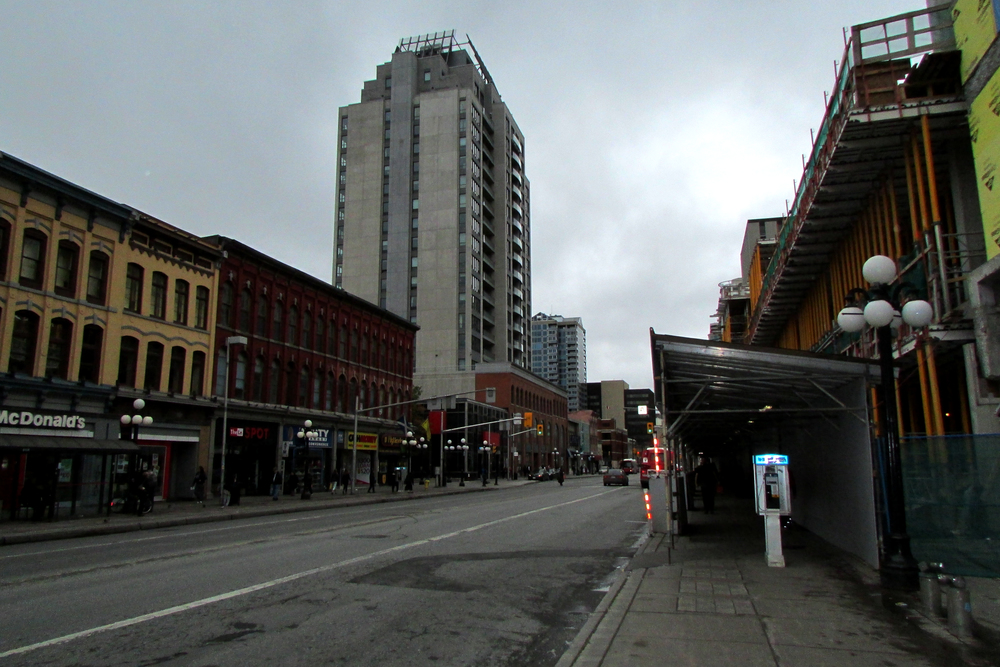 Downtown is hauntingly dead at 1:00 PM on a Saturday