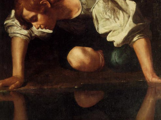 Detail:Narcissus,Caravaggio, 1597-1599