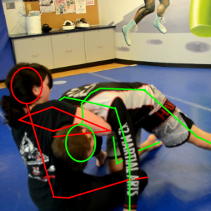(red) - The Guillotine into guard  is performed by grabbing the head as shown with Red's right forearm across Green's throat. Red will then lie down on their back pulling Green with them  and wrap their legs around Green's body. From there, Red would arch their back, push and squeeze with their legs and pull on Green's head while simultaneously pushing their right forearm into the throat, forcing a choke.