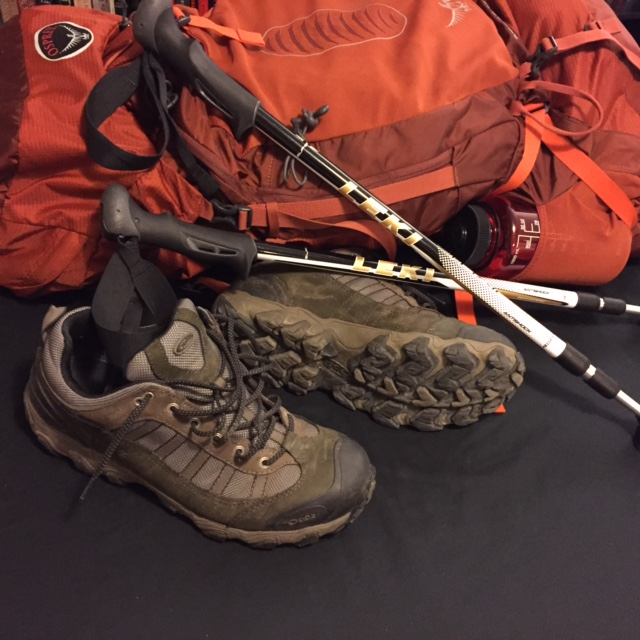 Oboz Tamarac hiking shoes, Leki trekking poles, and Osprey Atmos 65 AG backpack. All essential items for a great day or weekend hike.