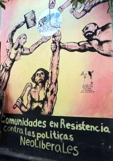 """communities in resistance against neoliberal politics"" -- mural promoting various cripdes programs within the chalatenango region of el salvador."