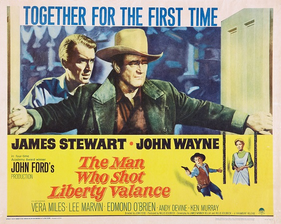 Poster for the film  The Man Who Shot Liberty Valance . Image Source: http://i.cdn.turner.com/v5cache/TCM/Images/Dynamic/i145/themanwhoshotliberty_1962_mp_hs_1200_072820111120.jpg