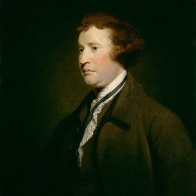 A portrait of Edmund Burke.