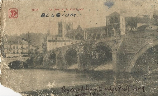 A postcard of Collégiale Notre-Dame et Saint-Domitian in Huy, Belgium. Fred sent this along with his letters in 1919.