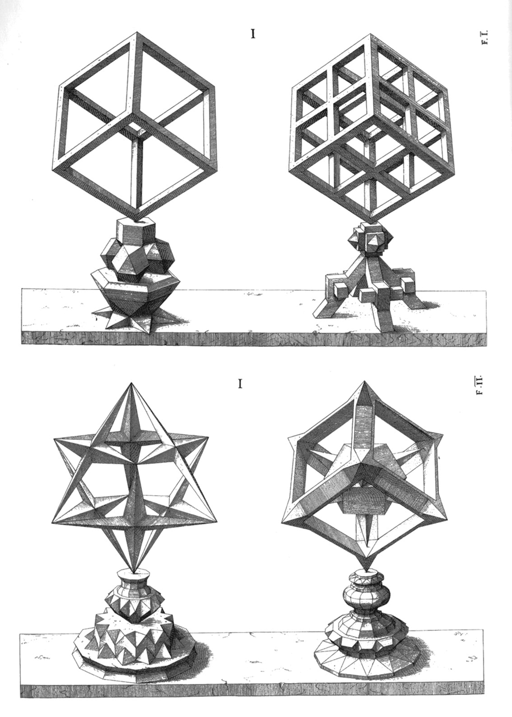 Studier fra Wentzel Jamnitzers Perspectiva Corporum Regularium, 1568