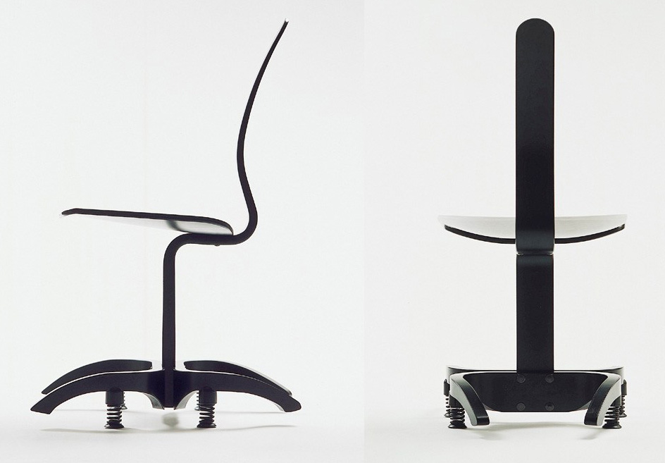 """4 wooden parts and 4 coil springs provides a unique kind of freedom"". Motion chair, made by Stokke 1998-2003"
