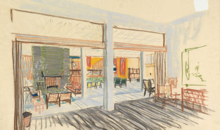 Knut Knutsen's sketch of the interior in the Royal Norwegian Embassy in Stockholm in 1950. Photo: Nasjonalmuseet / Dag Andre Ivarsøy.