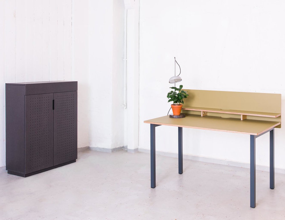 Cabinet designed by Ellen Ledsten - in dye coloured MDF, (Valchromat). Desk by Hallgeir Homstvedt with table desktop in olive green Forbo linoleum.