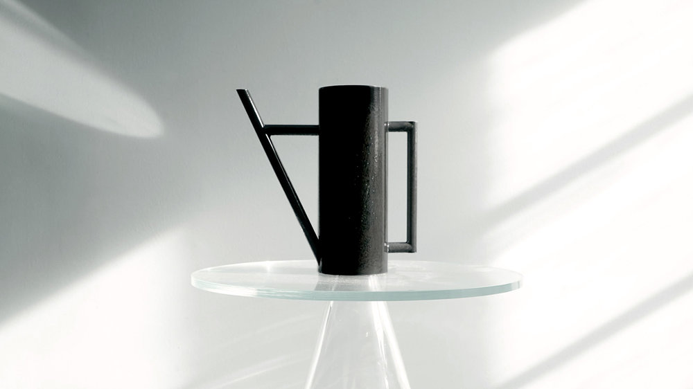 UT #57/256 Ur Water cans by Kneip  Stian Korntvedt Ruud & Jørgen Platou Willumsen of Kneip have designed Ur - a pair of in handmade enameled stainless steel water cans - made to elevate the ritual of sharing water with plants.