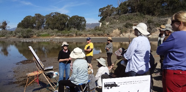 Members of SCAPE gather for painting and a demo at Goleta Beach.