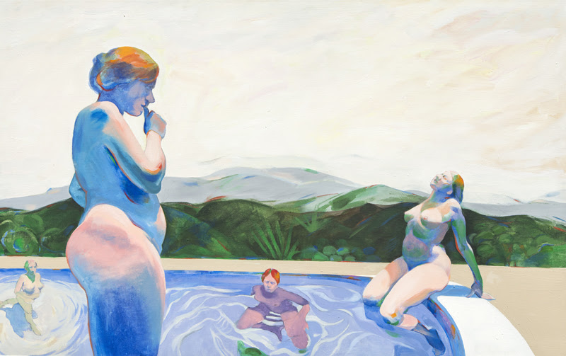 Priscilla Bender-Shore, Women in Pool, 1985-86, acrylic on canvas, 30x48 in.