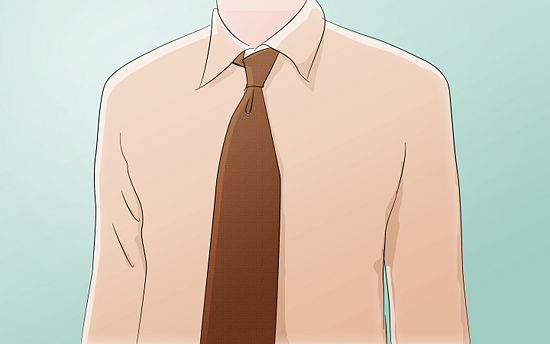 Tighten the knot by sliding it up the narrow end . Make sure your tie is straight and the length is appropriate.      The four-in-hand knot is a little asymmetrical at the neck. Don't worry about this; it is normal.  Many men with shorter necks prefer the four-in-hand, because the knot at top is very narrow and has a slimming effect on the rest of the neck.