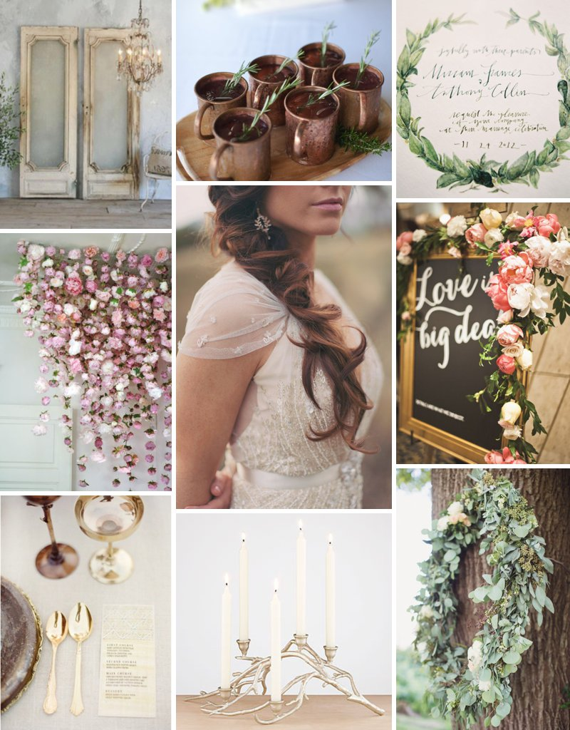 Inspiration board for A Love Affair workshop with Lauren Fair Photography and Oleander Floral Designs