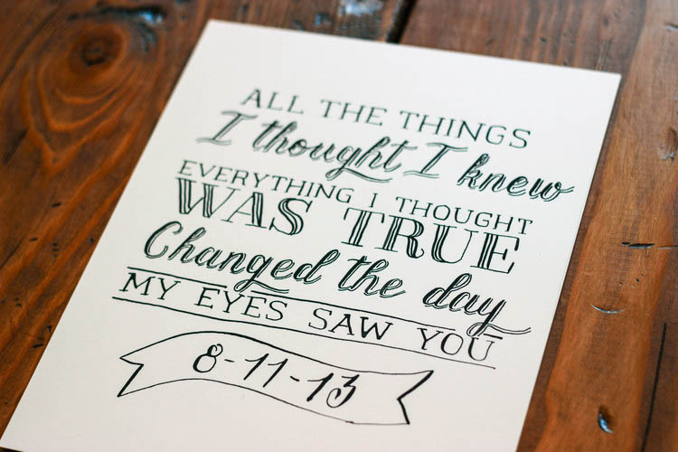 Hand lettered first dance lyrics // sandpiper & co