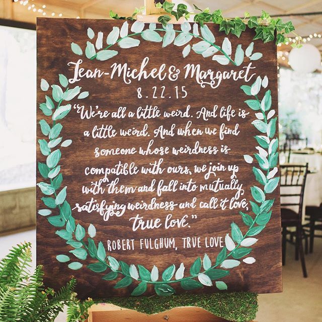 Such a wonderful weekend celebrating the marriage of dear friends! Loved making this custom, hand painted sign for #thedrsmongeau 🍃 #sandpiperandco