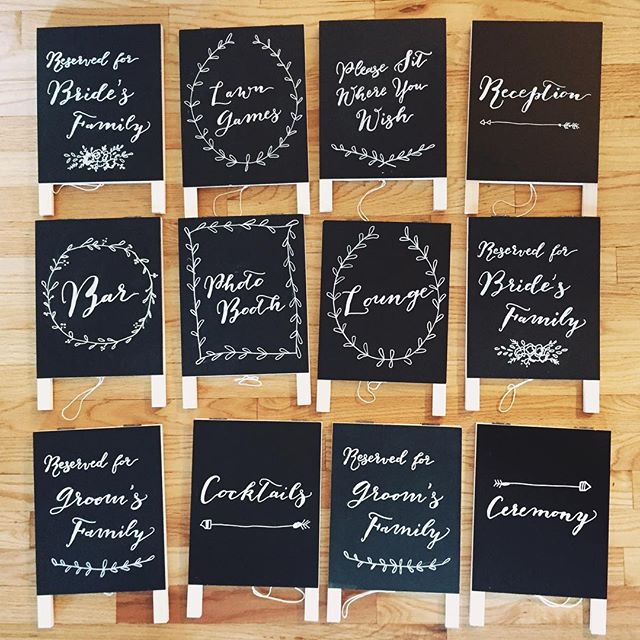 A collection of hand-chalked wedding signs for another @oleanderfloral couple last weekend! #sandpiperandco