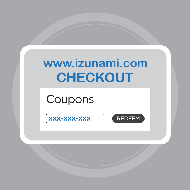 Use the coupon code at the checkout page when making purchases at IZUNAMI.COM.