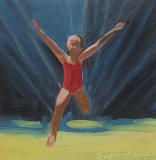 "New Apuntes! ""Superstar!"" oil on panel,6x6"