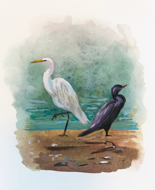 Ibony and Evory, 4x6 gouache (Egret and Comorant, Lake Cachuma)