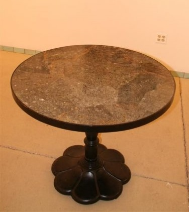 Fossil Table with Cast Iron Base