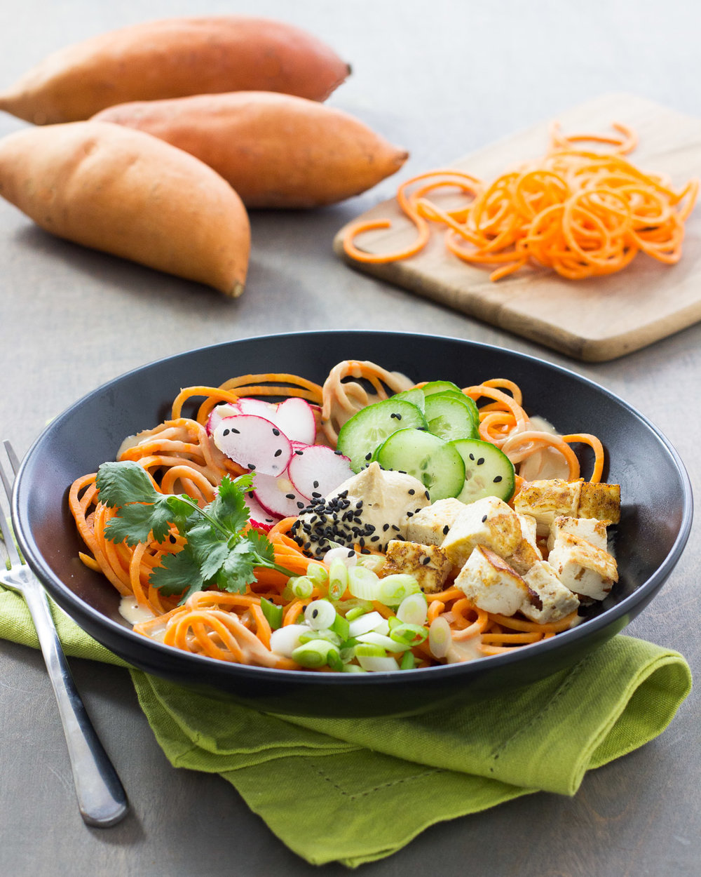 Sweetpotato and Spicy Hummus Noodle Bowl made with California Sweetpotatoes