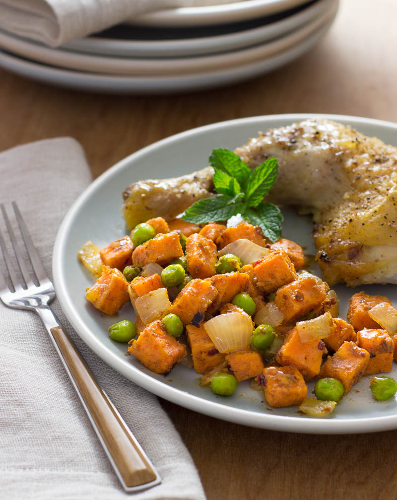 Spicy Sweetpotatoes and Peas
