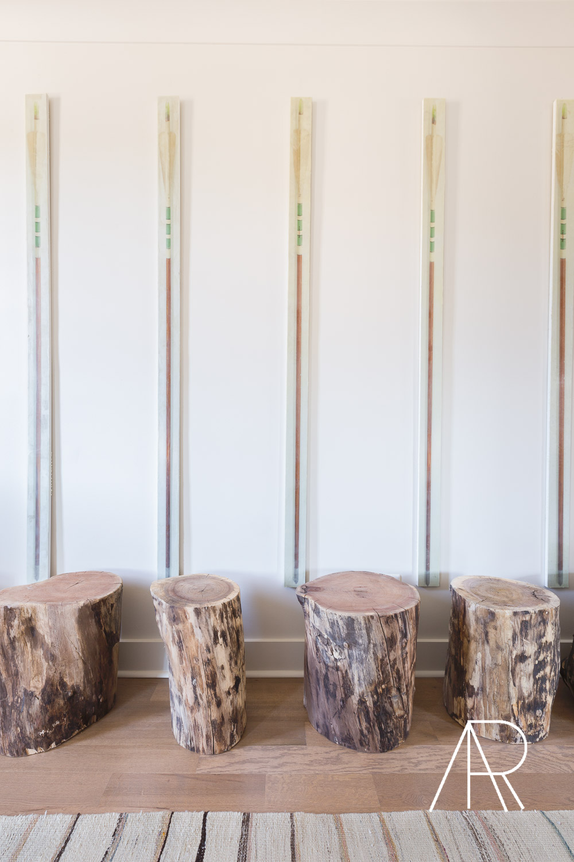 ©AlyssaRosenheck Alyssa Rosenheck's The New Southern Designer Spotlight with Sean Anderson, Interior Designer of Memphis, TN Hallway and mixed media art by Catherine Erb