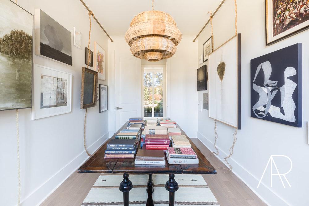 ©AlyssaRosenheck Alyssa Rosenheck's The New Southern Designer Spotlight with Sean Anderson, Interior Designer of Memphis, TN Library and Art Wall suspended from Ceiling