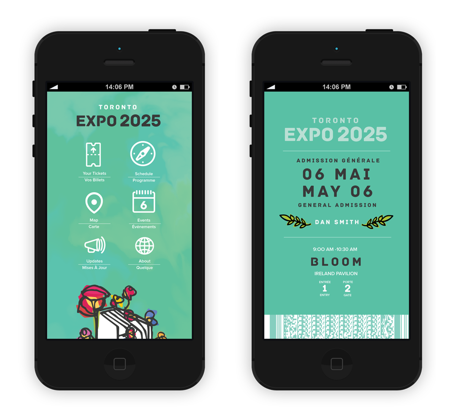 "Electronic Tickets Tickets would be available through an Expo 2025 app. The app would also include a convenient schedule, details on events, a map of the site, daily announcements, and background information. While loading the app, an animation of a growing flower appears to illustrate our theme ""flourish in knowledge."""