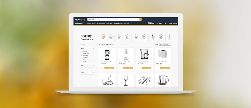HUGE SCHOOL: AMAZON'S WEDDING REGISTRY — ui/ux, strategy