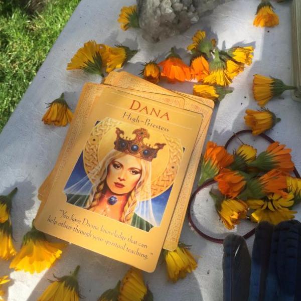 The Dana (High Priestess) card from Doreen Virtues Goddess deck
