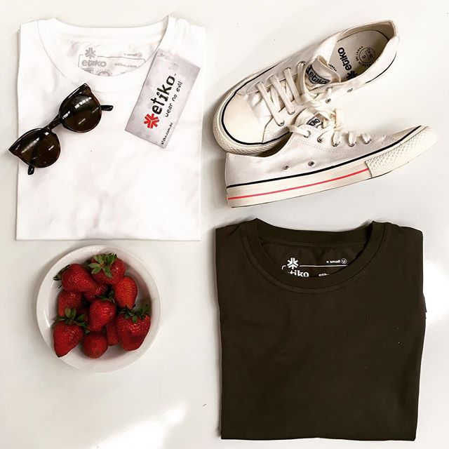 Etiko Fairtrade SUMMER ESSENTIALS. Our cotton T-shirts are made in India using worker-friendly Fairtrade manufacturers, and organically certified growers. Our sneakers are also all natural, Fairtrade and 100% vegan. http://fairtradeshop.com.au/ #vegan #sustainable #natural #fairtrade #summer #strawberries #rawvegan #organic #etiko