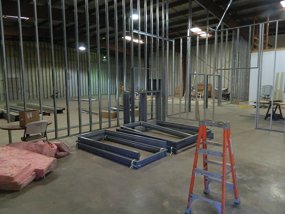 Framing of the interior walls is underway.