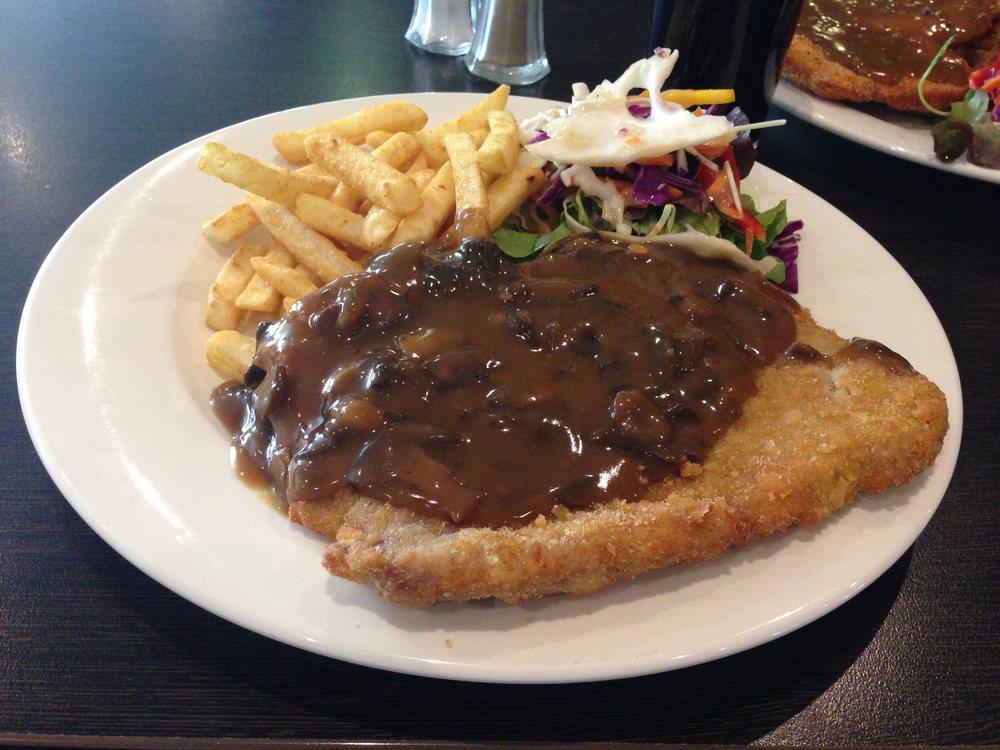Beef schnitzel with mushroom sauce
