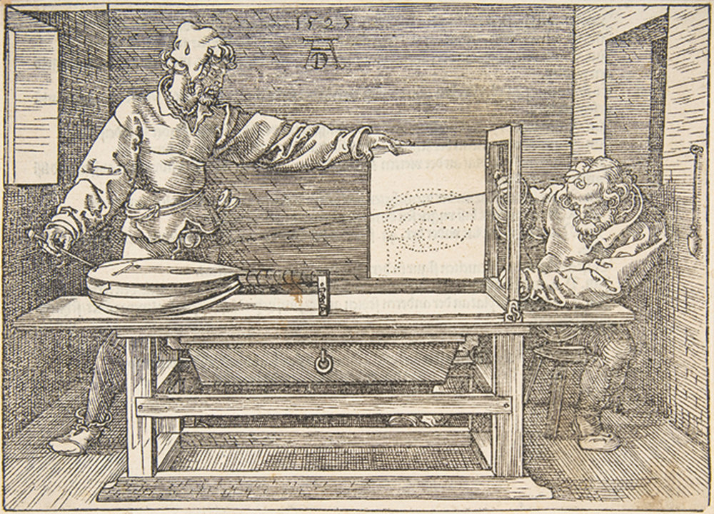 "Albrecht Dürer,  The Draughtsman of the Lute , n.d. , woodcut on paper, sheet size 5 1/8 × 7 1/4"".  London-based architectural historian and critic Mario Carpo discusses how 3-D printing is transforming the world in terms of its cultural, manufactural, design and engineering applications, and traces this paradigm shift in digital technology back to the development of technologies of reproduction and representation since the Renaissance."