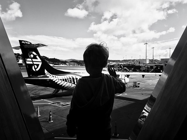 Lazy Sunday plane watching at the airport. @airnz #whywellington #childhoodeveryday