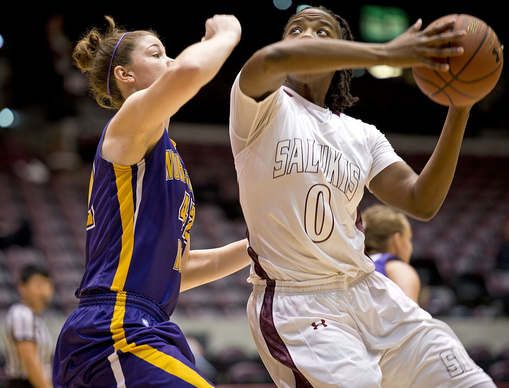 Salukis forward Dyana Pierre shoots over Northern Iowa's Jen Keitel.