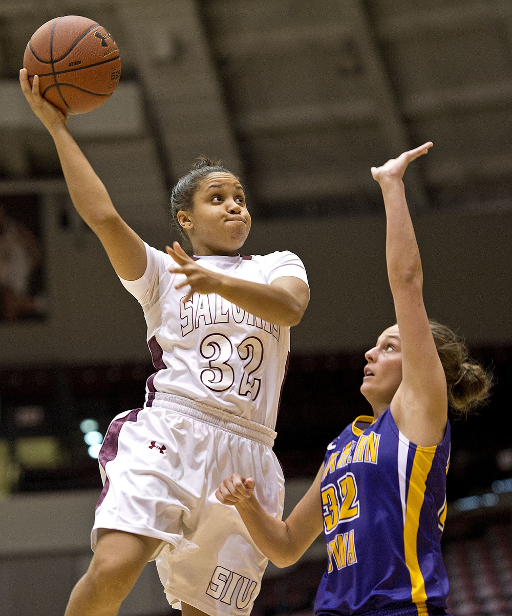 Salukis guard Sidney Goins puts up a hook shot over Northern Iowa's Brittni Donaldson.