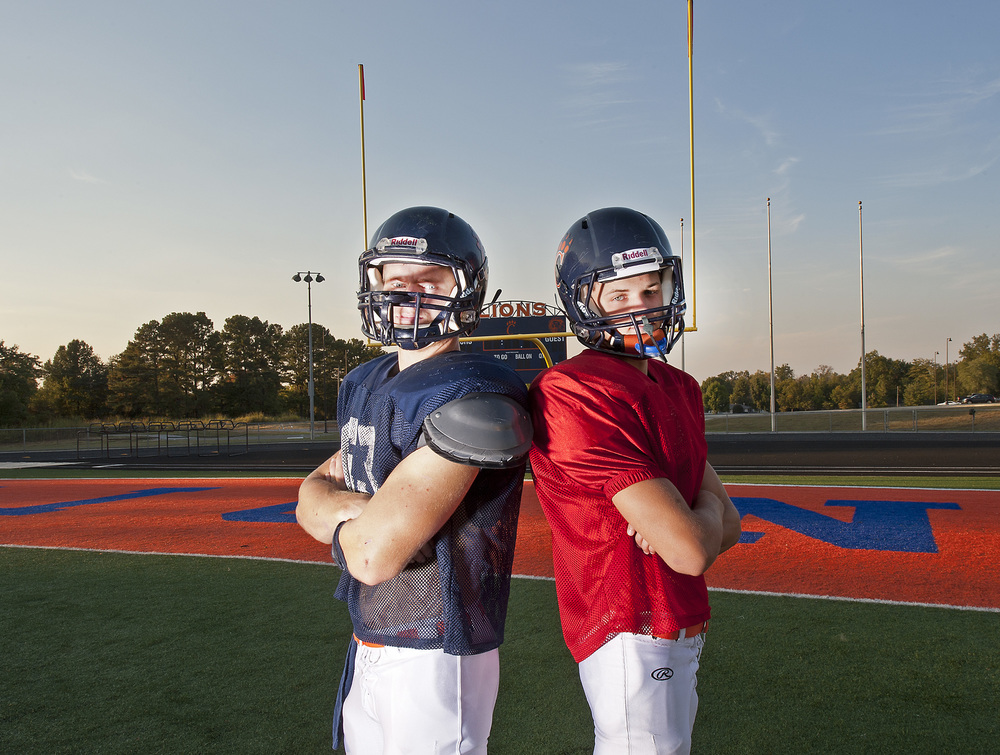 Running back Brayden Bisaillon, left, and quarterback Blake Hicks have replaced former running back Phillip Frangello and quarterback  Michael Aschemann on the Carterville Lions this season, jumping out to a 5-0 start. Bisaillon and Hicks believe they can bring Carterville its first state championship since 1996.