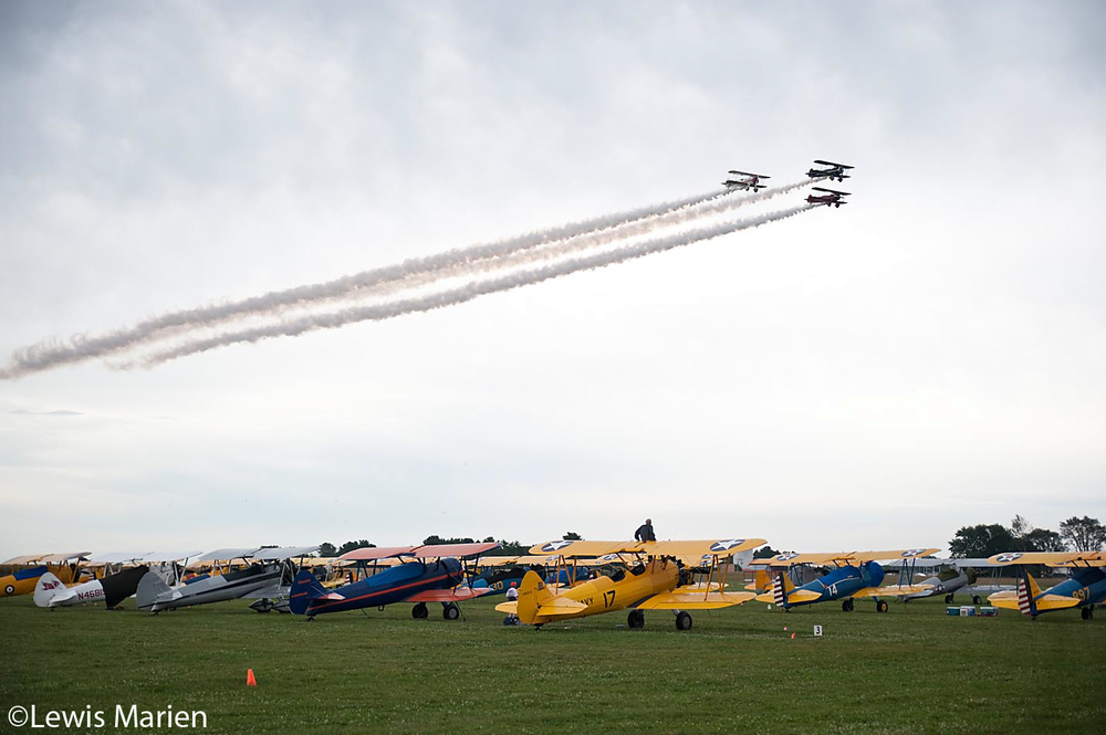 A trio of Stearman biplanes roll over the flight line during Day 2 of the 44th annual National Stearman Fly-In on Sept. 8 at Galesburg Municipal Airport.