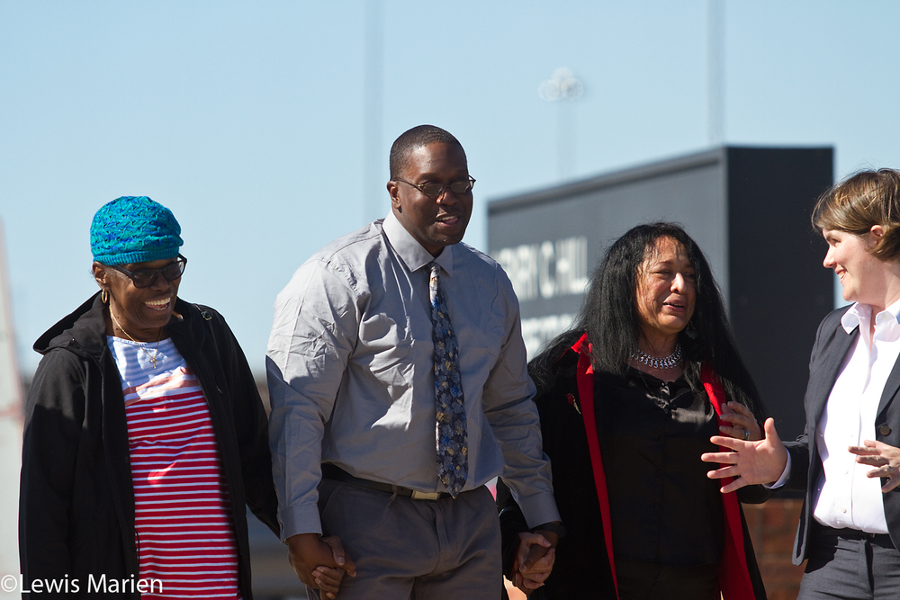 Shawn Whirl, center, walks out of the Henry C. Hill Correctional Center in Galesburg, Ill., with his mother Erma to his left, his fiancée Gloria Castaneda to his right and attorney Tara Thompson, far right, on Wednesday, Oct. 14, 2015. In 1990, Whirl was tortured by a Chicago detective working under disgraced former Chicago police commander Jon Burge. He was tortured until he confessed for the robbery and murder of a Chicago cabdriver, and in 1991 he was sentenced to 60 years in prison. However, in August 2015 his murder conviction was overturned by a unanimous appellate court and Whirl was cleared of all charges on Oct. 13, 2015.