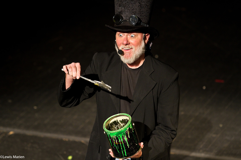 "Steve Richerson, of Frog Pond, Ala., also known by his stage name ""Steve Trash"", entertains Galesburg and Monmouth area school students Nov. 10 at The Orpheum Theatre in Galesburg, Ill."