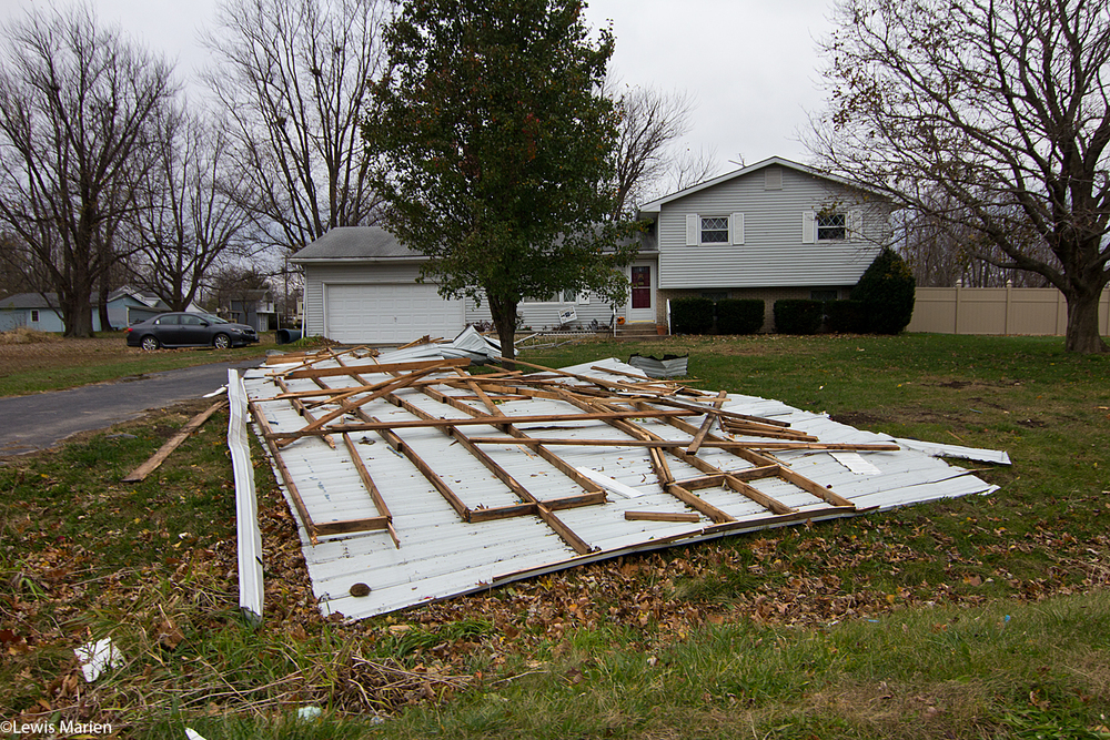 Parts of a roof from Harvest Church of God in East Galesburg, Ill., were found in the nearby neighbor's yard after late night Nov. 11 and early Nov. 12's wind storm.