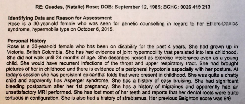 EDS diagnosis from Calgary.