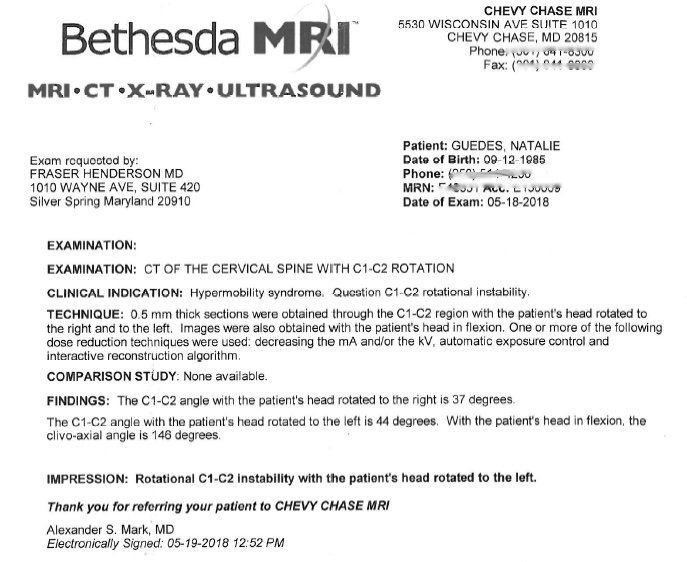 Rotational CT scan confirming instability