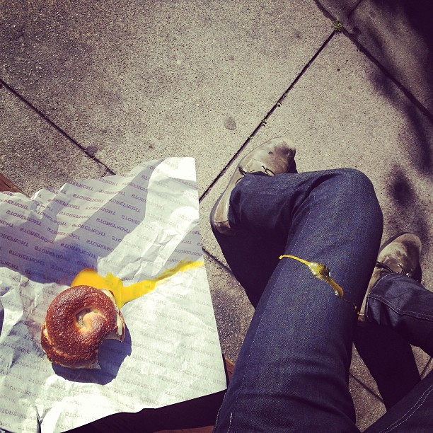 Bagel, egg, and jeans. (at Storefront)