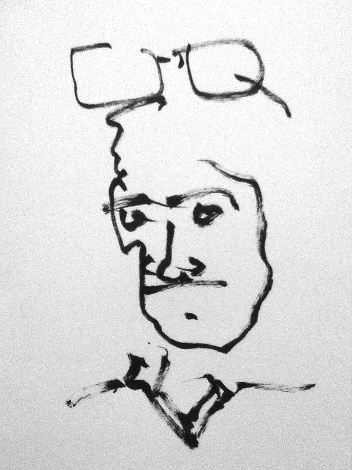 """My dad said, """"need a fresh chinese brush sketch, of moi, from memory, no peek ee."""" So I did it with my eyes closed. This was the result."""