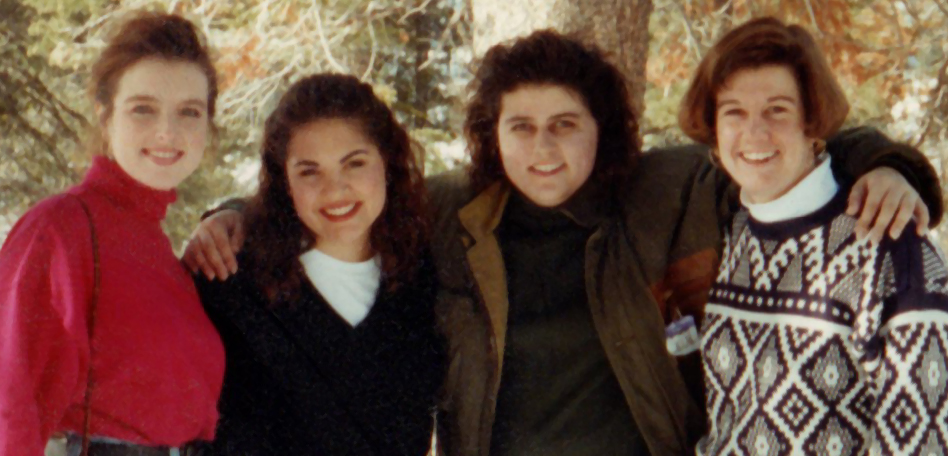 The original  Golden Girls  on a college trip to Tahoe in the 90s. From left to right:  Carol Miller  (Rose),  Lisa DeBartolo  (Dorothy),  Corrine Clement  (Blanch), and  Nicole Oronato  (Mama).